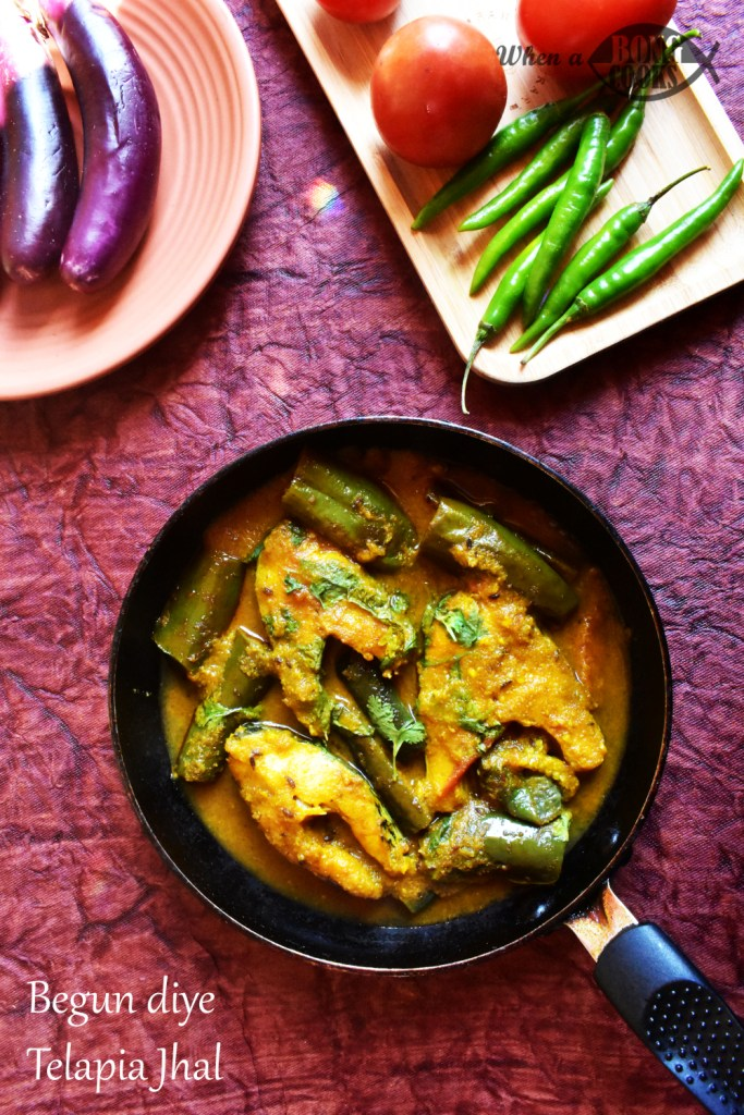 Begun diye Telapia Jhal (Spicy Tilapia Curry with Eggplant)